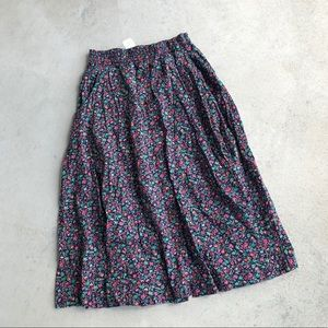 •new• LizSport Navy Floral Button Front Midi Skirt
